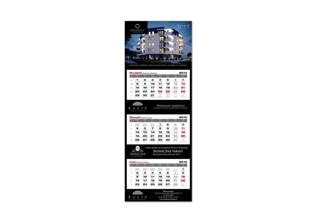 Kalendarz trójdzielny Rezydencja Wileńska Racis 2015