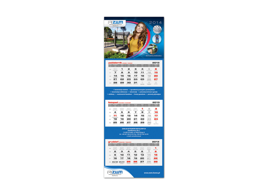 kalendarz trójdzielny ZWM 2014